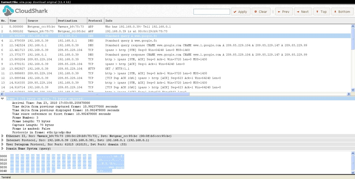 Photo of WireShark Online : CloudShark