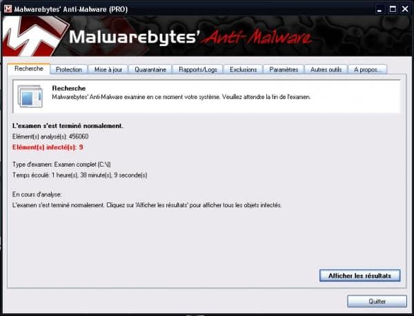Malwarebytes Anti Malware resultats 600x459 Comment utiliser Malwarebytes Anti Malware ?