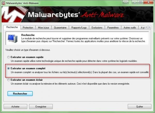 Malwarebytes Anti Malware scan 600x437 Comment utiliser Malwarebytes Anti Malware ?