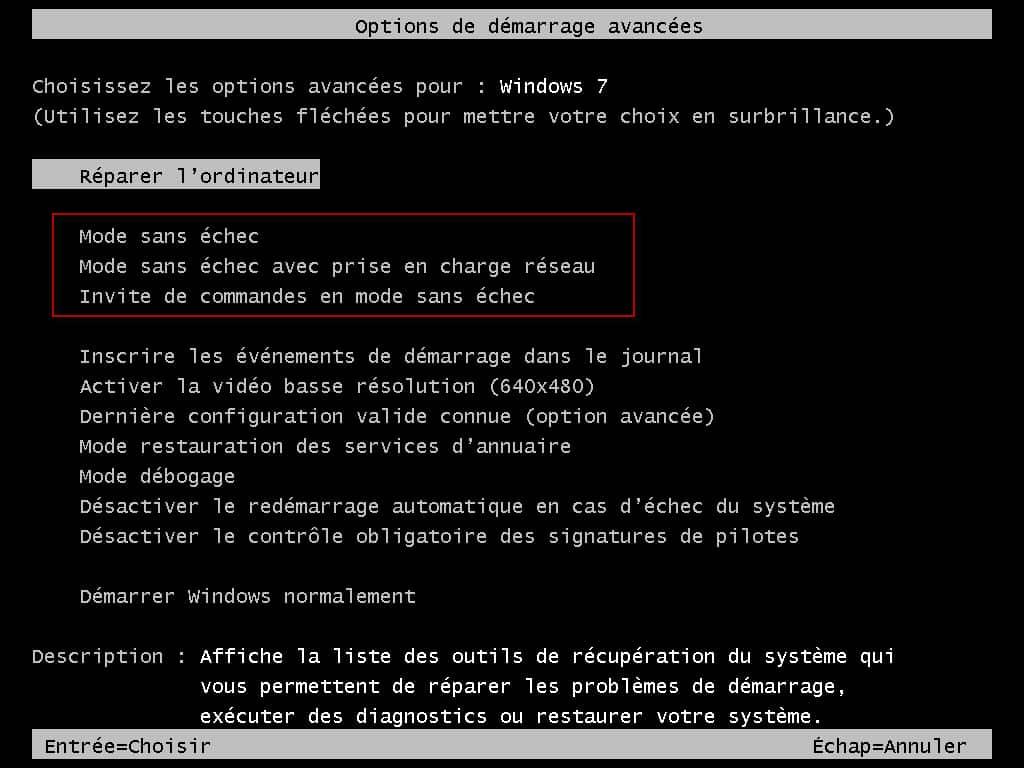 Que faire si mon ordinateur ne peut pas démarrer en mode sans échec ?