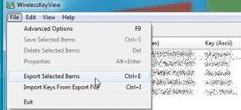 WirelessKeyView-File-menu