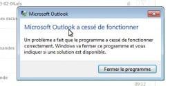Résoudre le problème : Outlook à cessé de fonctionner