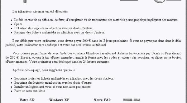 Votre ordinateur a été bloqué pour violation de la loi française