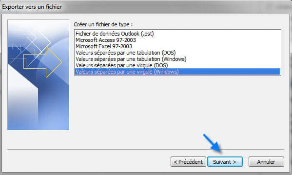 exporter ses contacts outlook vers excel au format csv