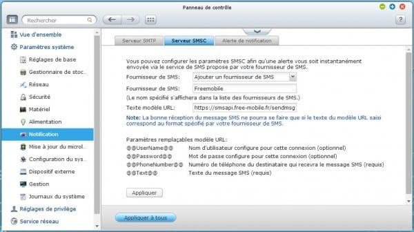 Fournisseur SMS QNAP