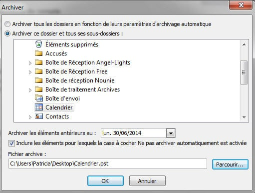 Archiver pst differents