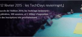 Inscriptions aux TechDays 2015 ouvertes