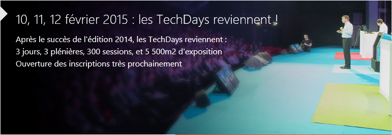 Photo of Inscriptions aux TechDays 2015 ouvertes