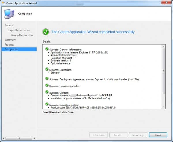 SCCM-create-app-completion