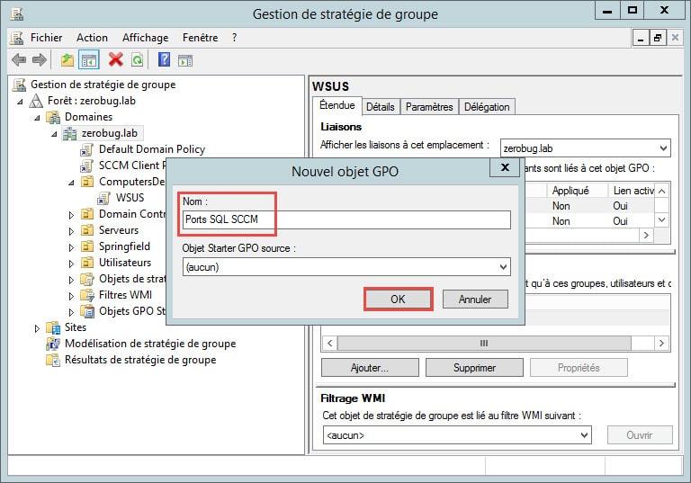 Configurer le pare-feu (Client / Serveur) pour Configuration
