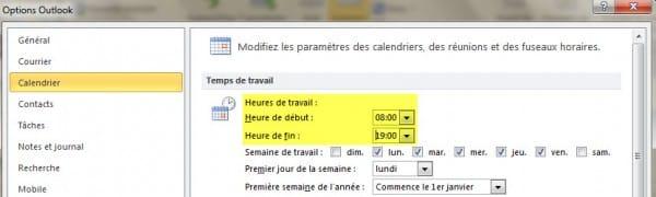 parametres calendrier