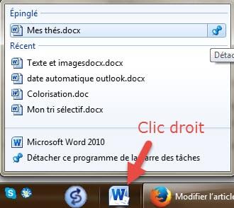 raccourcis fichier du programme épinglé