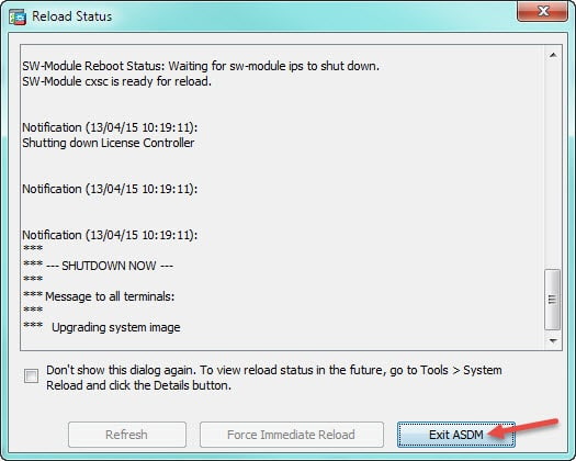 cisco asa check update reload status