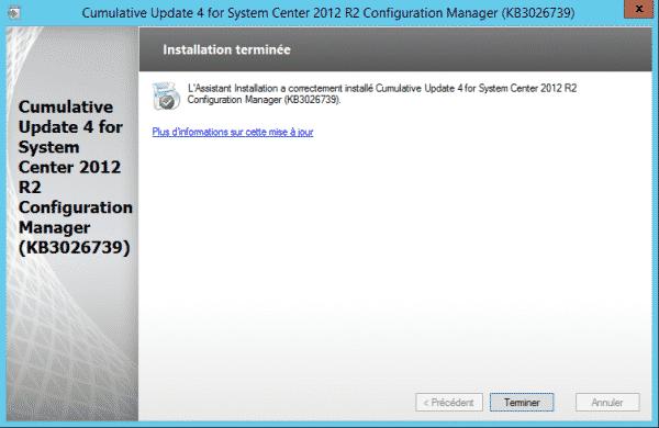 SCCM-Update-CU4-install-terminer