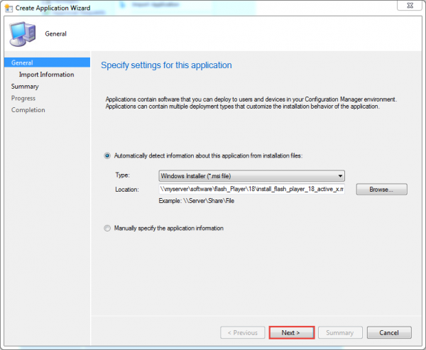 sccm-create-app-flash