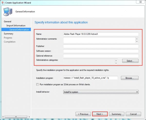 sccm-create-app-flash-general-information