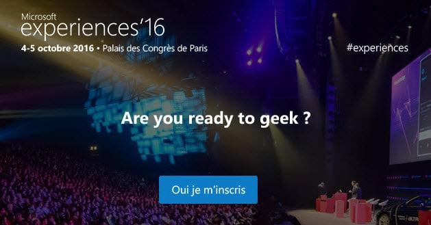 Microsoft experiences'16 remplacera les Techdays le 4 et 5 octobre 2016