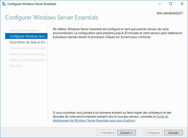 Windows Server 2016 Essentials : Présentation et